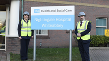 Health Minister Robin Swann with Chief Nursing Officer Charlotte McArdle during a visit to the Nightingale Hospital at Whiteabbey
