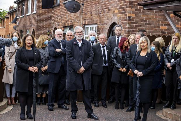 Sinn Fein leader Mary Lou McDonald, former party leader Gerry Adams, and deputy First Minister Michelle O'Neill attending the funeral (Liam McBurney/PA)