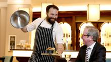 Kyle Greer, Executive Head Chef of the Europa Hotel with General Manager James McGinn as the hotel joins the Eat Out to Help Out scheme