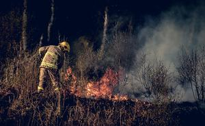Firefighters battle a gorse fire on the Reenaderry Road outside Dungannon