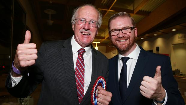 DUP's Jim Shannon and Simon Hamilton celebrate