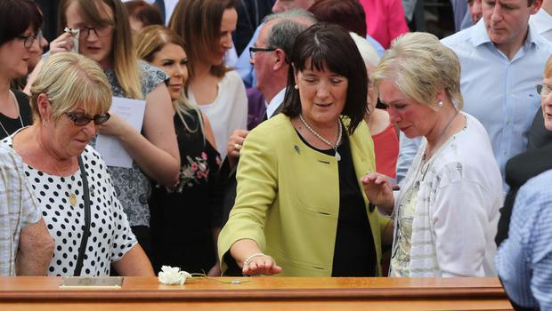 Anne Morgan, centre, at Seamus Ruddy's funeral at St Catherine's Dominican Chapel in Newry, Co Armagh