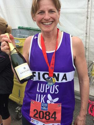 The mum after completing the Belfast Marathon on Monday