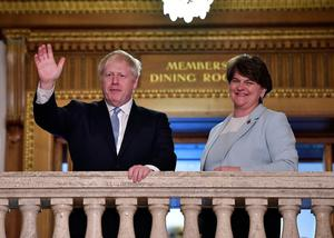 Boris Johnson with DUP leader Arlene Foster at Parliament Buildings, Stormont