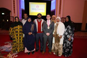 Lord Mayor of Belfast Daniel Baker with guests at the Celebrating Community event at City Hall on Saturday evening