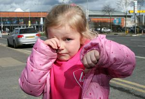 Mia Lundy (5) from Coleraine was in tears