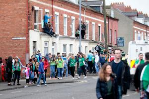 Students in the Holyland area of south Belfast on St Patrick's Day