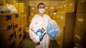 Health worker with PPE at Belfast City Hospital earlier this week