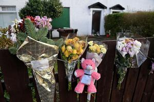 Flowers and tributes at the family home of Nadia Zofia Kalinowska in Newtownabbey
