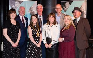 (From left) Deirdre Cartmill, artist in residence, Terrence Brannigan, chair of Tourism NI, Lord Mayor of Belfast Cllr Nuala McAllister, David Alderdice, British Council, Jackie McCoy, chairman, Belfast International Arts Festival, Richard Wakely, festival director, Maria McManus, artist in residence, and Damien Smyth, Arts Council of Northern Ireland