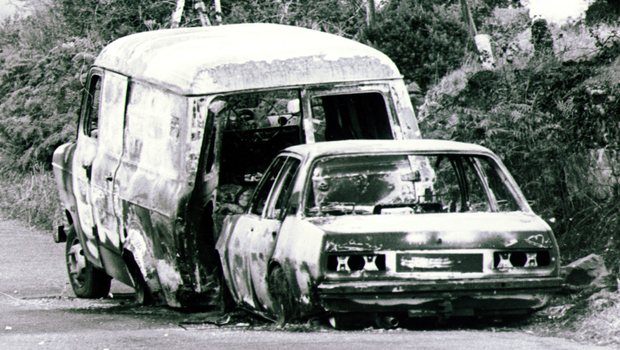 A burned out van and car near the border that police believe were used in the kidnapping of Ben Dunne in 1981