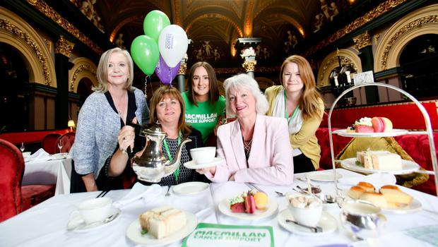Launching this year's Coffee Morning are Margaret Carlin from Antrim Area Hospital and from Macmillan NI Tania Bailie, Claire Murphy, Heather Monteverde and Karen Dunn