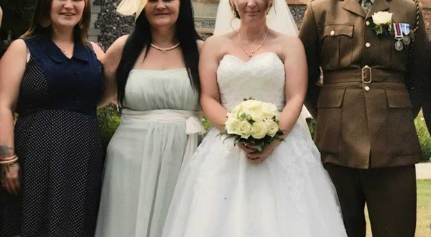 Louise on her wedding day with (from left) Jade, Tina and Lee