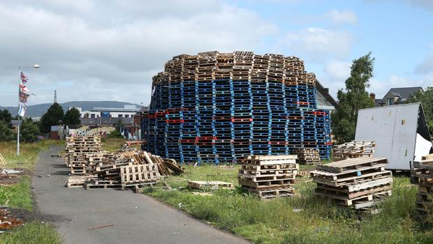 Pallets stacked ready to be placed on the structure