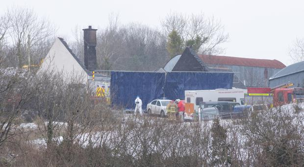 The scene in Derrylin last week after fatal fire