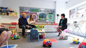 First Minister Arlene Foster pictured with Linda and Mark Courtney during a visit to the Kids and Bibs Nursery in Moygashel, Co Tyrone (Kelvin Boyes/Press Eye/PA)