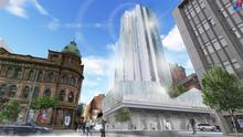 An artist's impression of the site n which he new hotel will stand