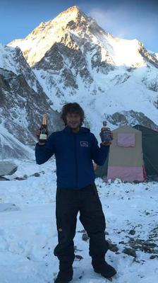Celebrating his 54th birthday with the world's second highest mountain in the background