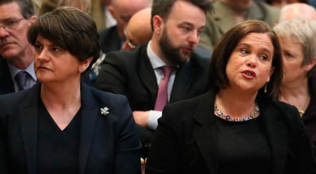 DUP leader Arlene Foster with Sinn Fein's Mary Lou McDonald at the funeral of Lyra McKee