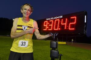Dave Clarke at the Mary Peters Track last night after breaking the record