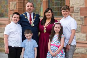 SDLP Councillor Brian Tierney who has been elected the new Mayor of Derry City and Strabane District Council pictured with the Mayoress Cheryl and children, Ben, 7, Mary Kate, 8, Shane 11 and Cian 14. Picture Martin McKeown. 01.06.20