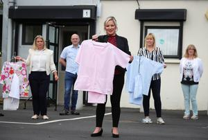 Deputy First Minister Michelle O'Neill with the NI Scrubs team in Dungannon