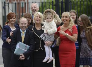 Pro-life activist Bernie Smyth outside court yesterday with friends and family