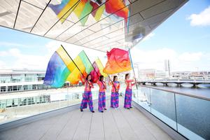 Performers on the terrace of the new section of the Waterfront Hall as it was officially unveiled yesterday
