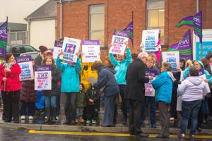 People protest against the Bangor Community Hospital closures