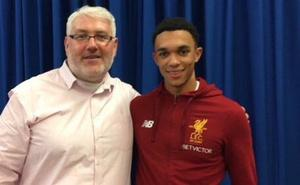 Andy Kelly interviewing Liverpool star Trent Alexander-Arnold