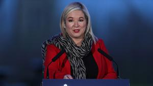Deputy First Minister Michelle O'Neill during a media briefing (PA)