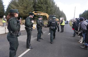 Police at Woodburn Forest in Co Antrim yesterday
