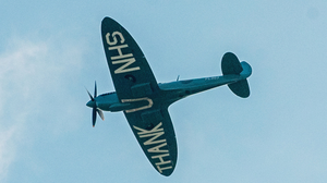 Message: The Spitfire pays tribute to the staff at Altnagelvin Hospital yesterday