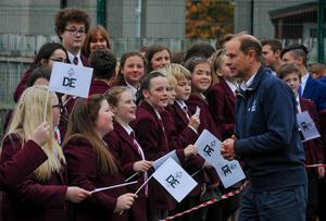 The Prince is greeted by pupils of Strangford College who have been taking part in the Duke of Edinburgh Awards Scheme
