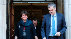 Secretary of State Julian Smith with DUP's Arlene Foster at Stormont House yesterday