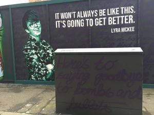 A mural of Lyra McKee in Belfast city centre (David Young/PA)