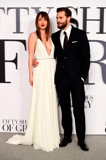Dakota Johnson and Jamie Dornan at the UK premiere of Fifty Shades of Grey in Leicester Square, London, in February