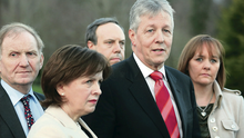First Minister Peter Robinson with DUP colleagues outside Stormont yesterday