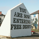 The Free Derry Corner gable wall in the centre of the Bogside
