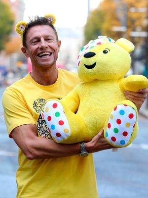 Stephen Clements presenting Children in Need