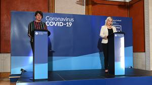First Minister Arlene Foster and Deputy First Minister Michelle O'Neill speaking to the media (Justin Kernoghan/PA)