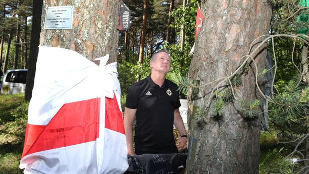 Michael O'Neill at the scene of Joey Dunlop's accident