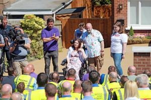 Nick Knowles and the DIY SOS team at the McCreight family home in Bangor