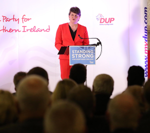 DUP leader Arlene Foster gives a speech to party members at the Ramada Hotel in south Belfast last night