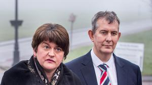DUP leader Arlene Foster and Edwin Poots (PA)