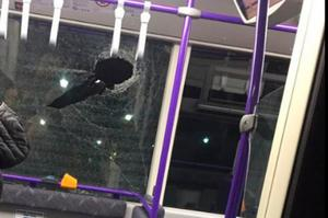 Damage by vandals to one of the vehicles