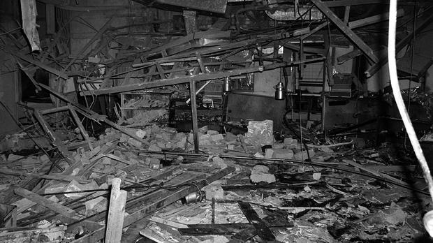 Wreckage at the Mulberry Bush, one of two pubs targeted by the bombers