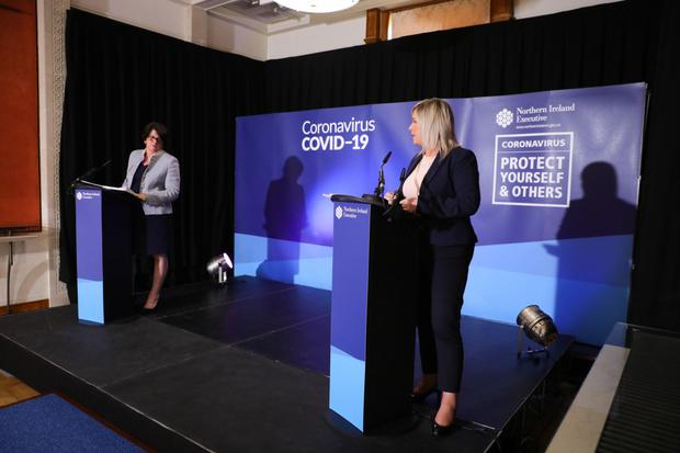 First Minister Arlene Foster and Deputy First Minister Michelle O'Neill at the daily briefing