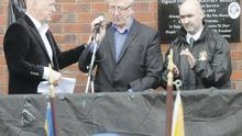 Senior republican Eddie Copeland, Thomas Begley's father Billy and Shankill bomber Sean Kelly at Sunday's ceremony which has caused outrage