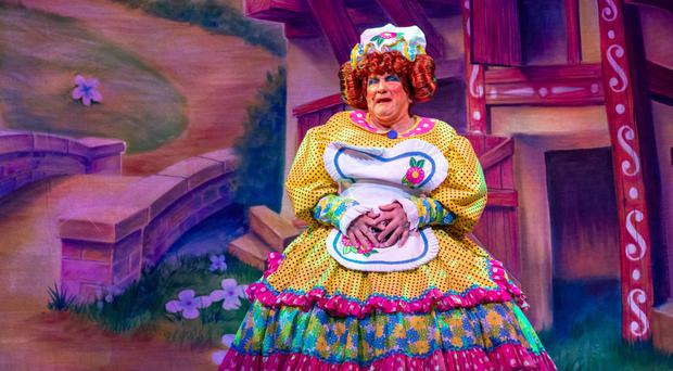 John Linehan as May McFettridge in Jack And The Beanstalk at the Grand Opera House